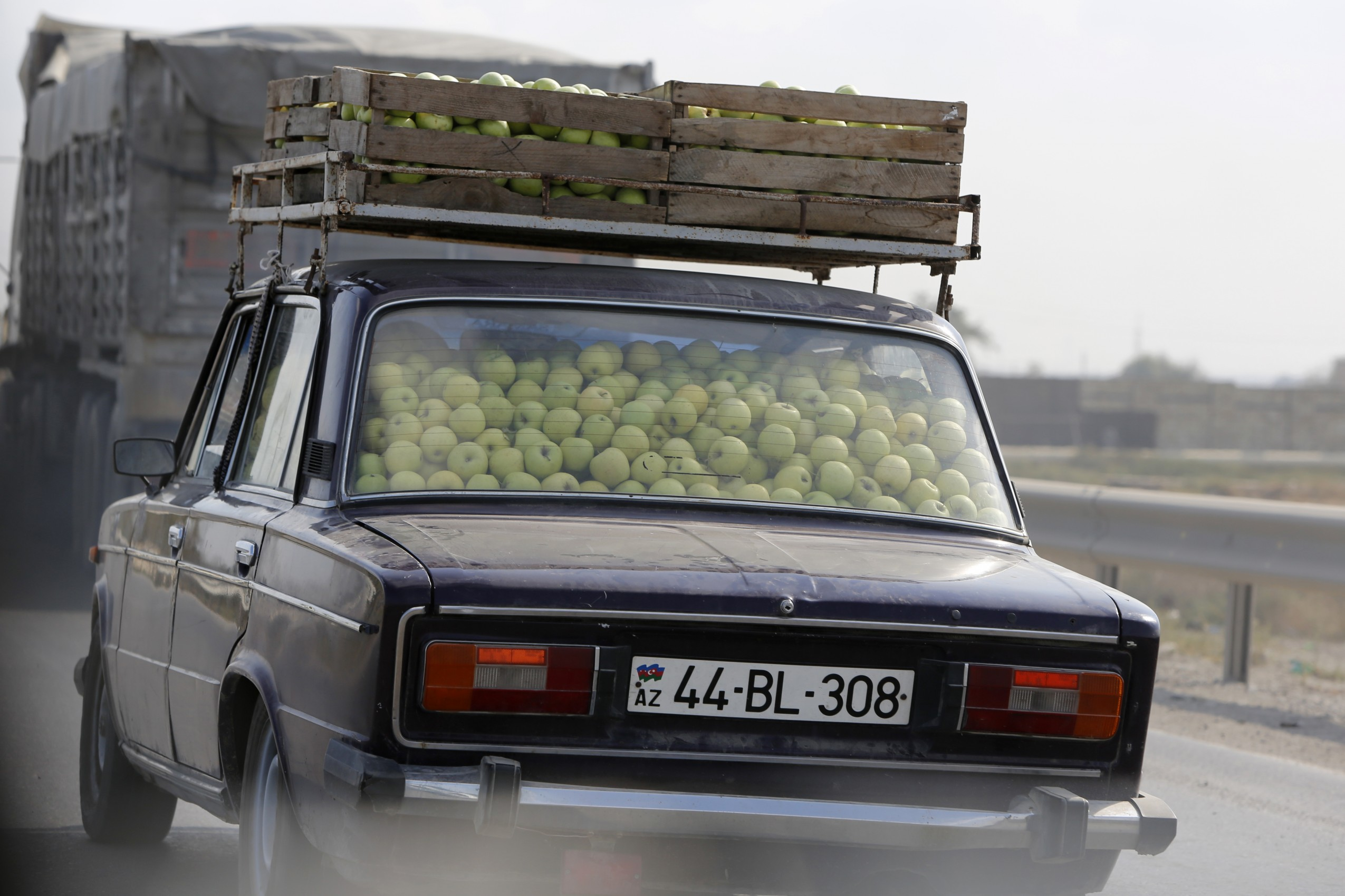 Car filled with apples